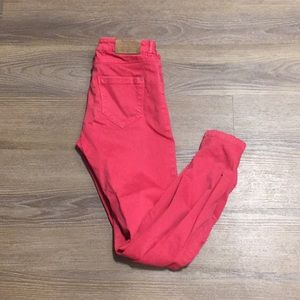 Zara Red/Pink Jeans with zipper detail